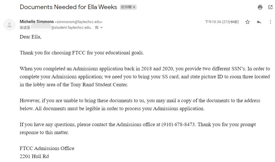 费耶特维尔技术社区学院邮箱申请